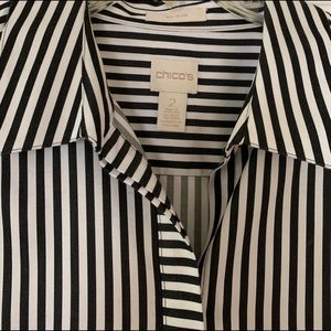 Chico's Black and White Stripe Blouse
